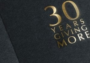 30 Years Giving More